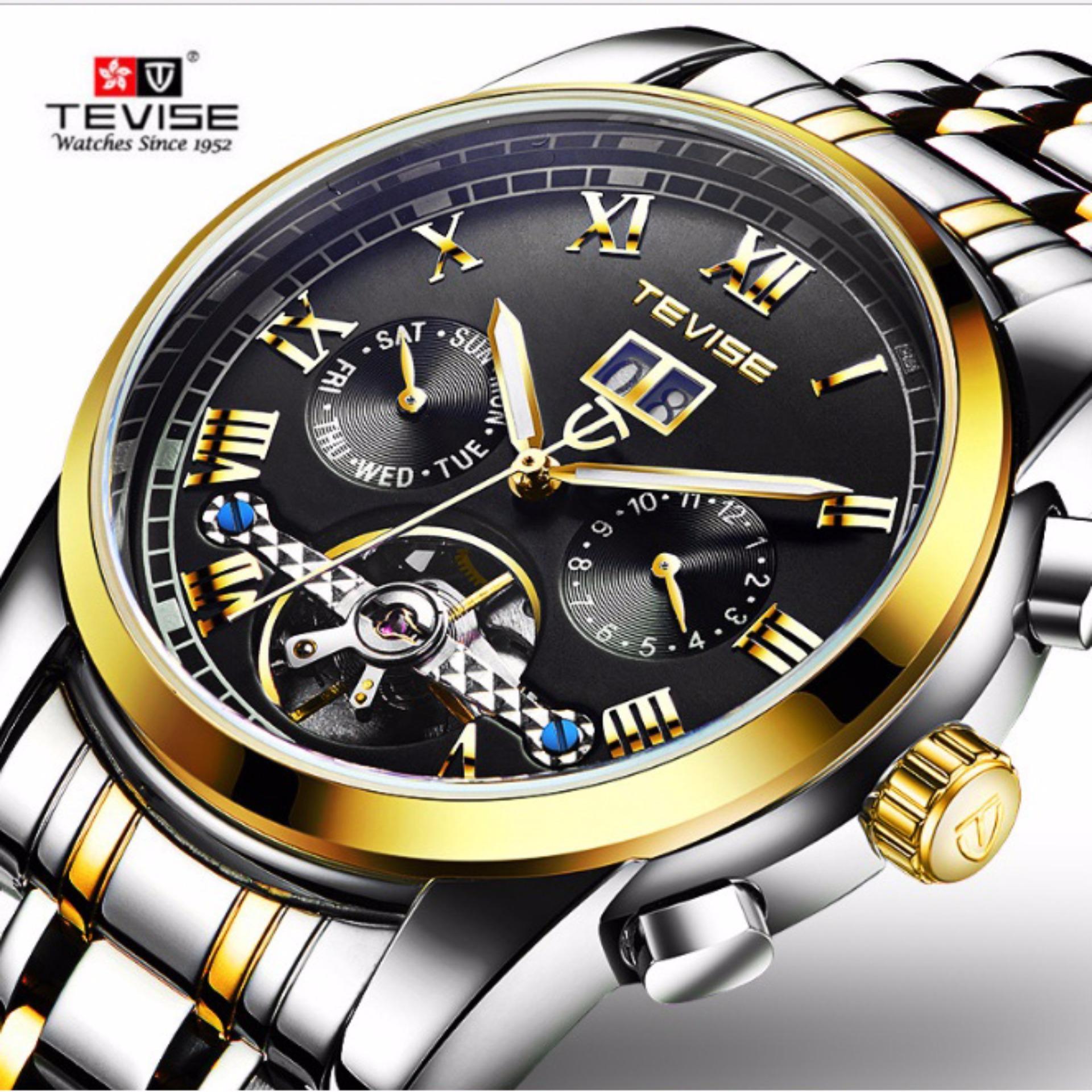 Đồng hồ nam máy cơ Tevise 9005G lộ máy chạy full kim  (Mặt đen dây sọc vàng)