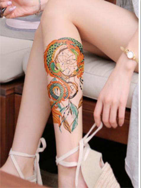 Hình ảnh Hình xăm dán Dreamcatcher rồng màu 15x22cm (Tặng mini tattoo)
