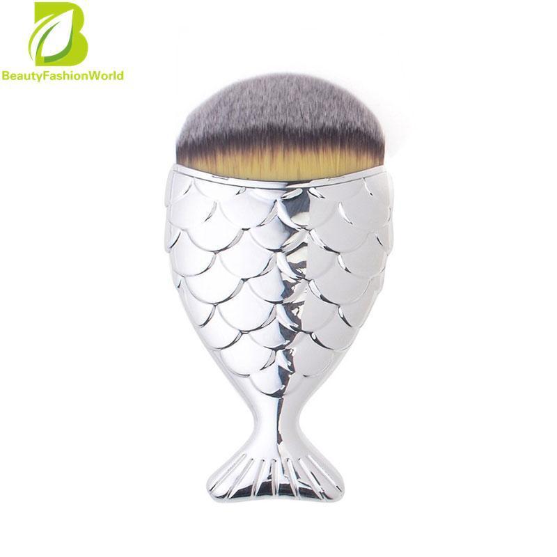 Mermaid Fish Shape Makeup Powder Foundation Blush Contour Brushblue Source · 1Pcs Portable Mermaid Makeup Brushes