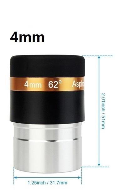 Datyson Aspheric Teleskop Lensa HD Wide Angle 62 Derajat Lensa 4/10/23 Mm Dilapisi Sepenuhnya untuk 1.25