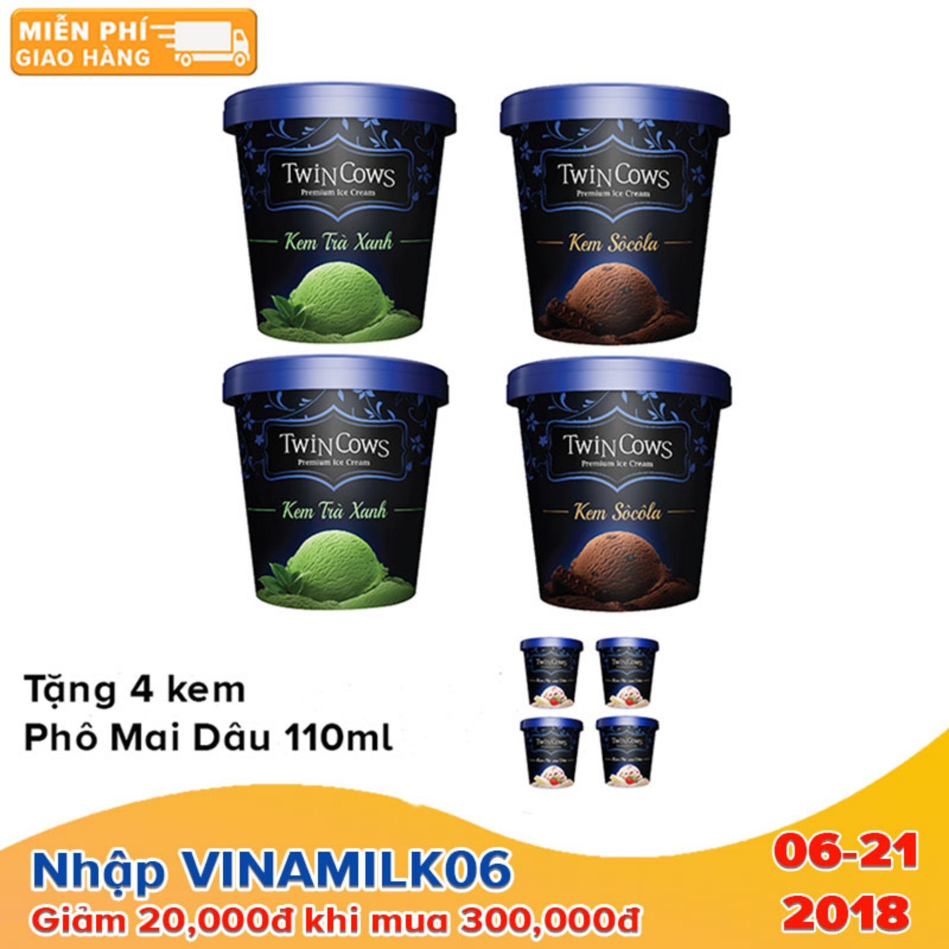 Bộ 4 hộp kem Twincows 450ml các vị Socola + Trà Xanh - Tặng 4 hộp kem Twincows phô mai dâu ly 100ml