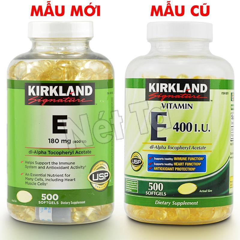 Vitamin E 400 I.U. Kirkland Signature hộp 500 viên từ Mỹ - Chống oxi hóa và làm đẹp cho da