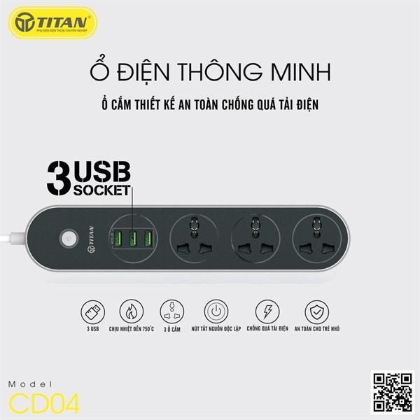 Ổ CẮM ĐIỆN THÔNG MINH 3 CỔNG USB SẠC NHANH 3.1A TITAN CD04