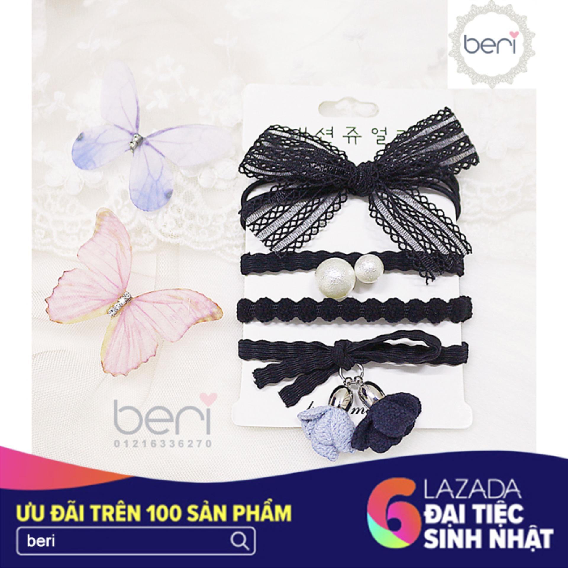 Combo 4 cột tóc Hàn Quốc BERI (đen) - CT030