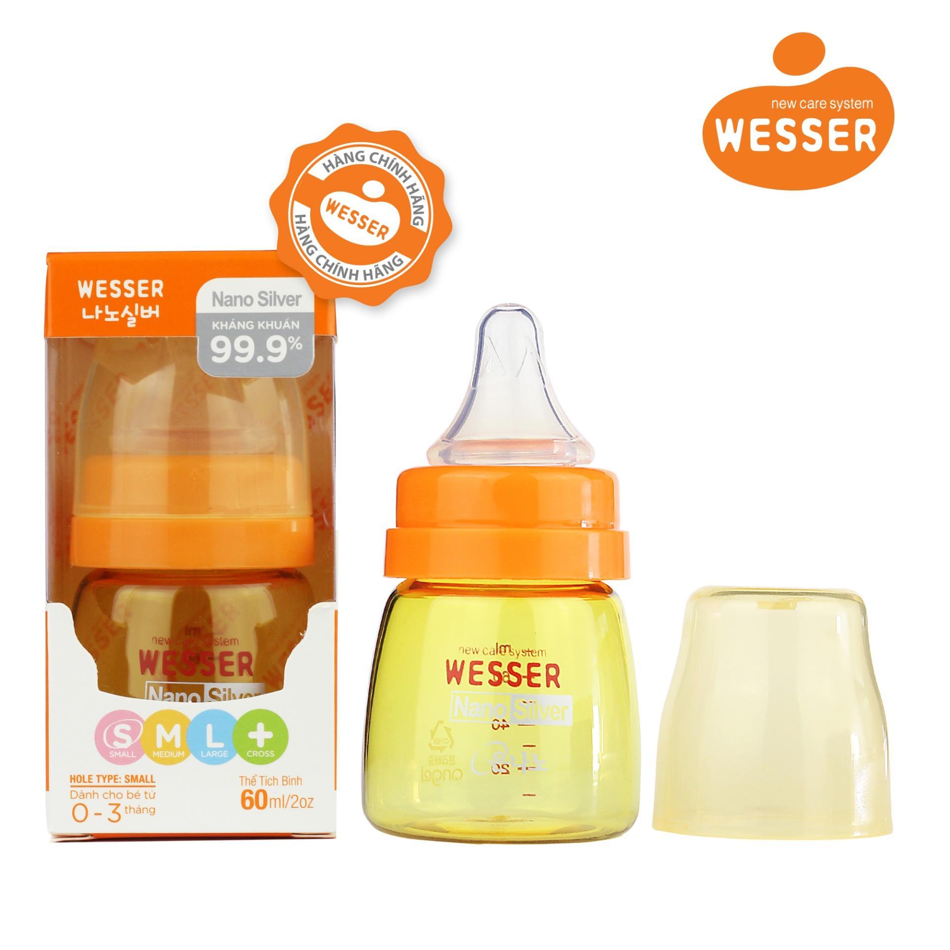 Binh Sữa Wesser Nano Silver Cổ Hẹp 60Ml Mau Vang Wesser Chiết Khấu 50