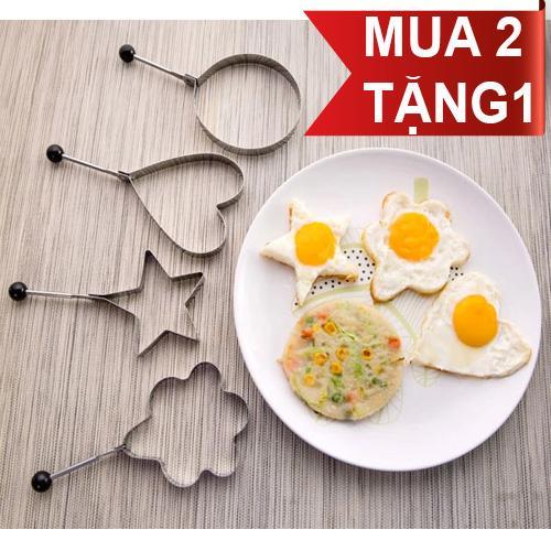Hình ảnh Mua 2 Tặng 1. Bộ Khuôn chiên trứng.Tạo hình bánh,cơm (Inox cao cấp loại 304)