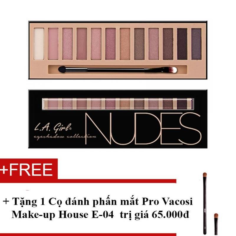Phấn mắt 12 ô siêu mịn, bền màu L.A GIRL Nudes Eyeshadow Collection 12g + Tặng 1 Cọ đánh phấn mắt Pro Vacosi Make-up House E-04 trị giá 65.000đ