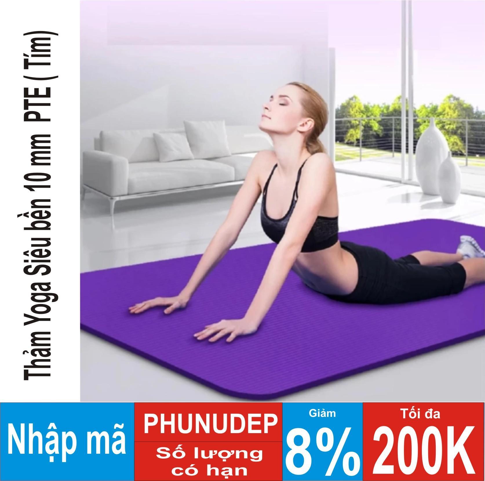 Hình ảnh Thảm tập Yoga siêu bền loại dày 10mm TPE (Tím) dày dài kích thước 1m75 x 61cm x 10cm ( CÓ TÚI ĐỰNG )