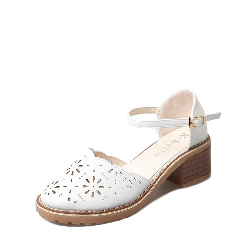 cca1c40f1c42f Versatile Hollow out Closed-toe Sandals women Summer 2018 Semi-high Heeled  Block Heel