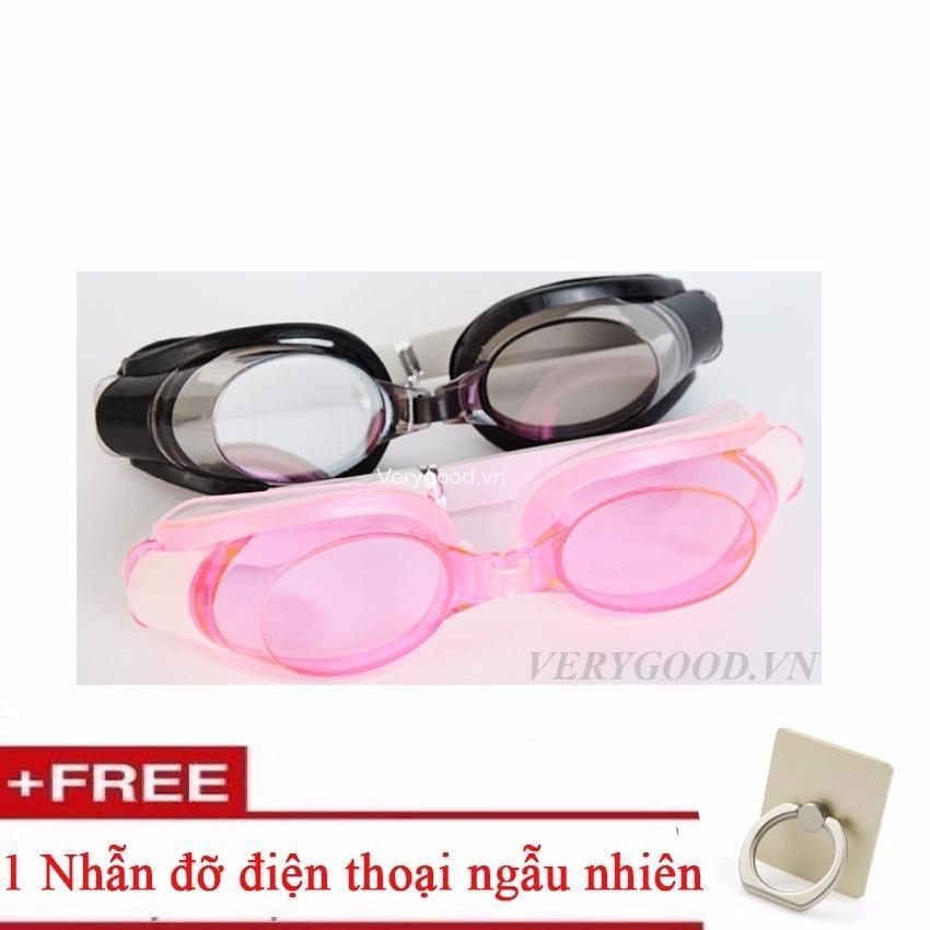 Hình ảnh Combo 2 Bộ Kính Bơi màu sắc + Tặng kèm giá đỡ điện thoại hình chiếc nhẫn