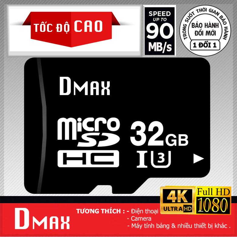 Bán Thẻ Nhớ 32Gb Tốc Độ Cao U3 Up To 90Mb S Dmax Micro Sdhc Class 10 Bảo Hanh 5 Năm Có Thương Hiệu
