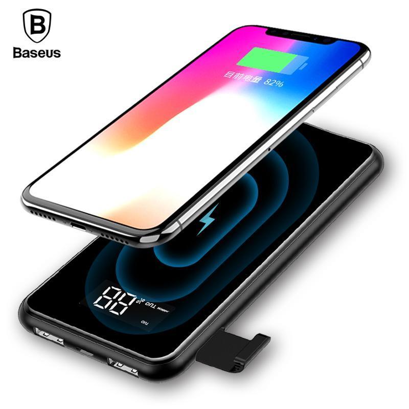 Hình ảnh Sạc không dây siêu mỏng siêu đẹp thông minh chuẩn Qi kiêm pin dự phòng 8000 mAh cho Iphone 8, iphone X,Samsung Galaxy S9, Note8