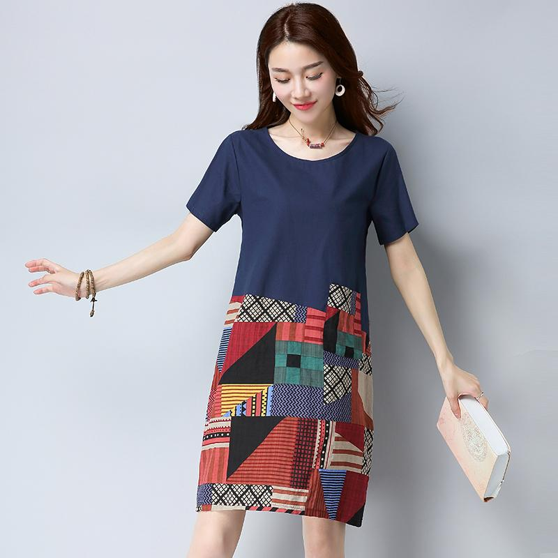 5dd4d7bd028d4 China. Women s casual large-size loose print cotton short sleeves midi dress  (Dark blue color