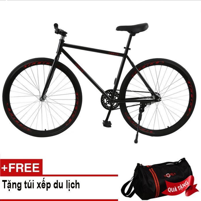 Xe đạp Fixed Gear Air Bike MK78 (đen) + Tặng túi xếp du lịch