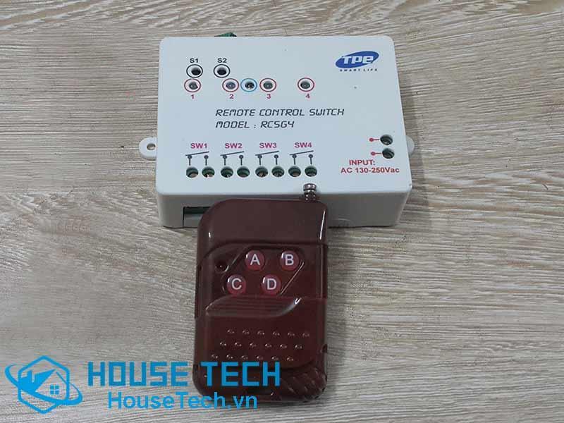 Công tắc điều khiển từ xa 4 hạt RC5G4 kèm remote 4 nút vân gỗ