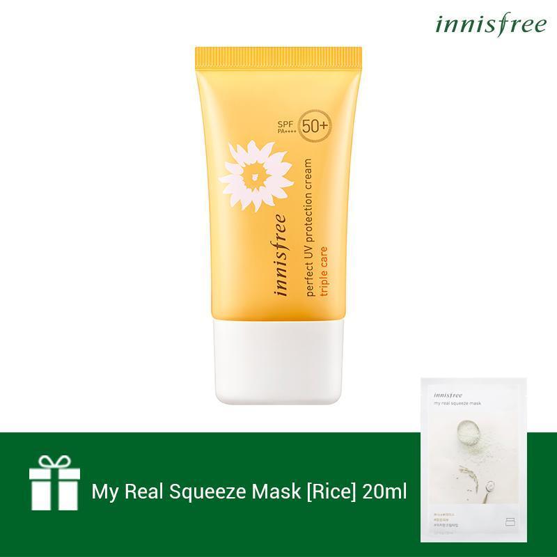 Kem chống nắng toàn diện đa chức năng Innisfree Perfect UV Protection Cream Triple Care SPF50+/PA++++ 50ml (NEW) + Tặng 1 Mặt nạ gạo Innisfree My Real Squeeze Mask-Rice 20ml nhập khẩu