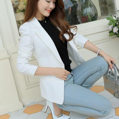 Womens Korean-Style Slim Long Sleeve Blazer (white) By Taobao Collection.