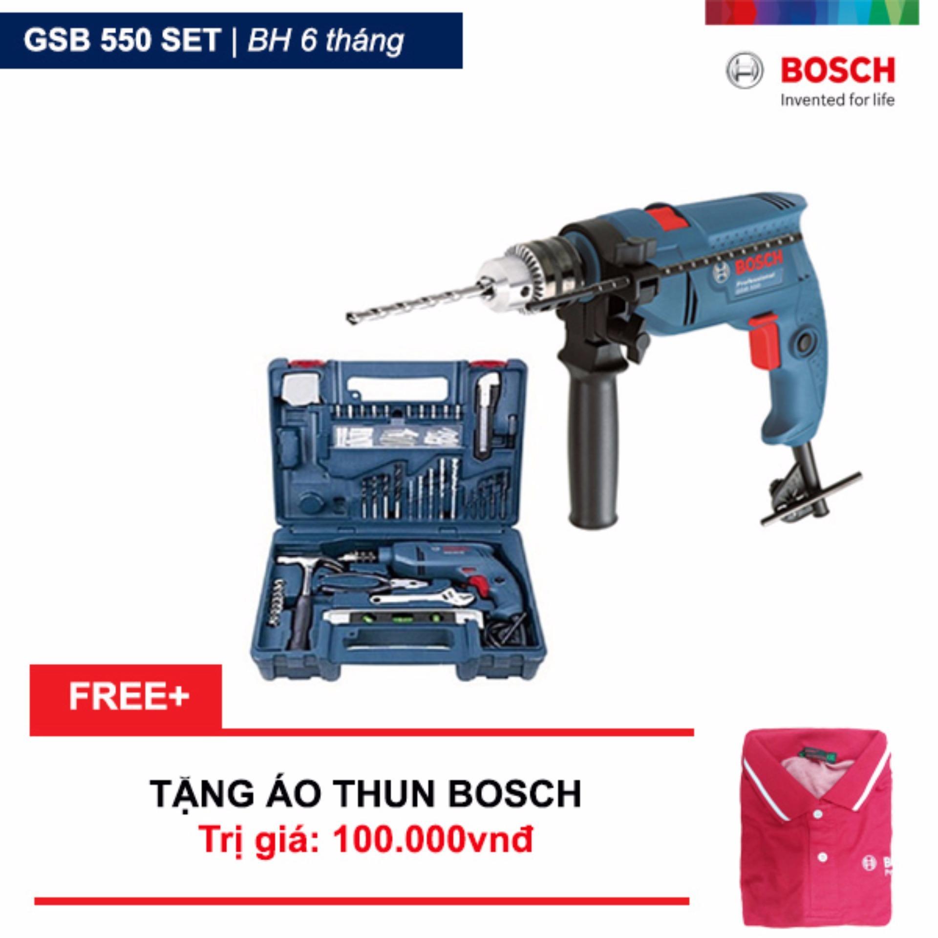 Giá Bán Rẻ Nhất Bộ May Khoan Động Lực Bosch Gsb 550 Va Bộ Dụng Cụ 100 Chi Tiết Bosch Tặng Ao Thun Bosch