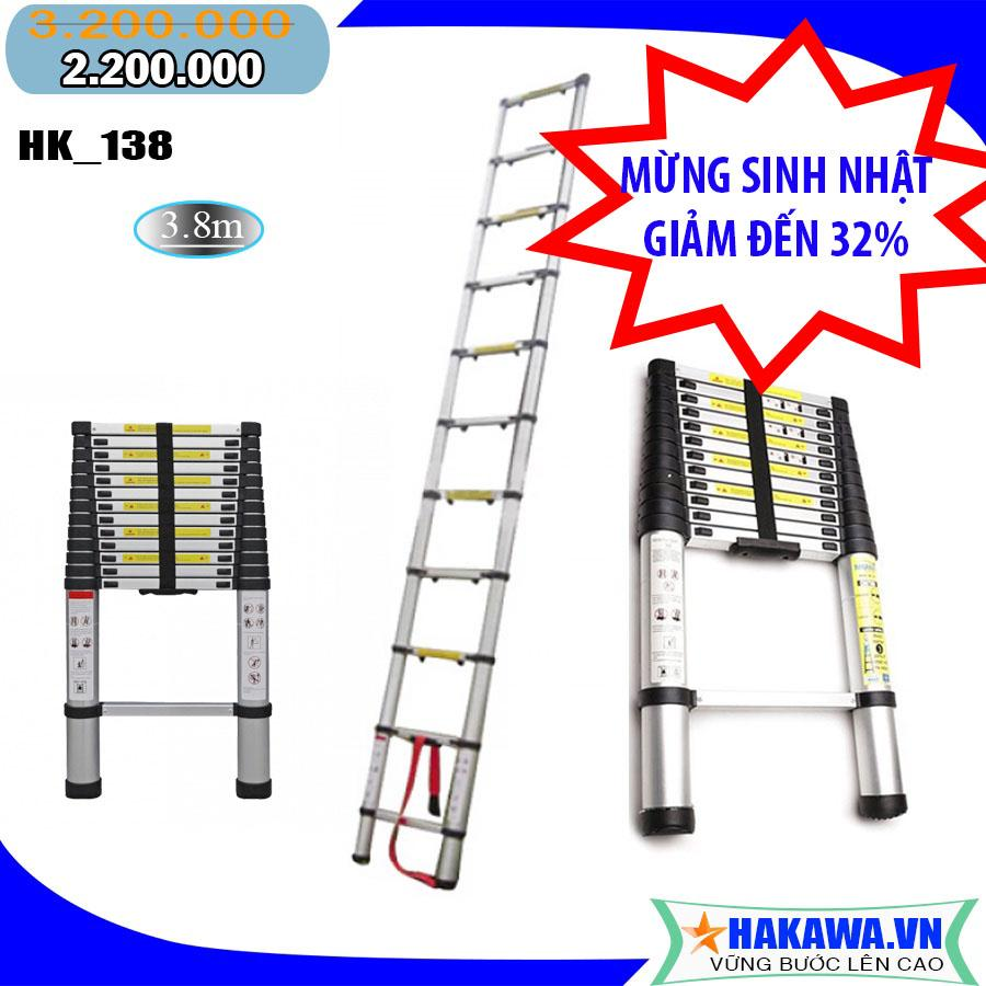 Hình ảnh [thang nhôm rút] Thang nhôm rút gọn HAKAWA HK138 - HÀNG NHẬT BẢN, chất lượng cao, 3 mét 8