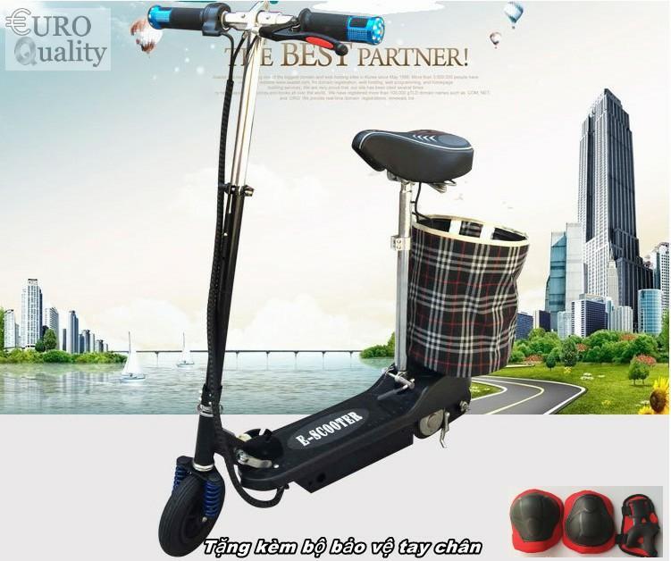 Xe scooter điện E-Scooter 15km/h, tải trọng 80kg, 120w thiết kế chắc chắn (Black) + Tặng kèm bảo vệ tay chân - Euro Quality
