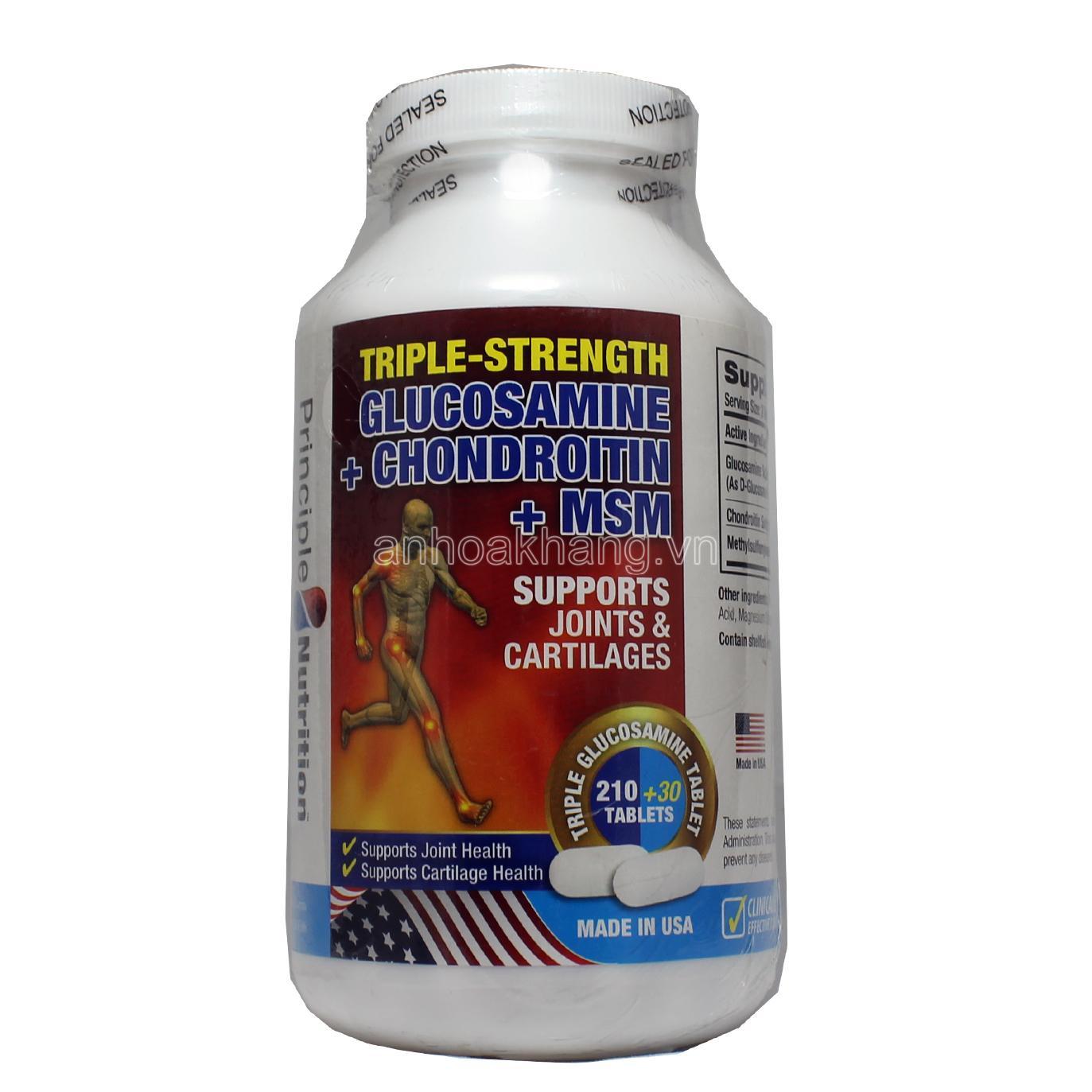 Giá Bán Principle Nutrition Triple Strength Glucosamine Chondroitin Msm Vien Hỗ Trợ Va Phục Hồi Chức Năng Xương Khớp Nguyên An Hòa Khang