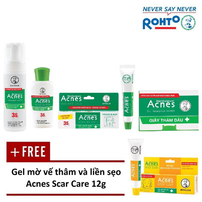 Bộ sản phẩm trị mụn Rohto Acnes (da dầu/hỗn hợp) + Tặng 1 Gel mờ vết thâm, liền sẹo Acnes Scar Care 12g nhập khẩu