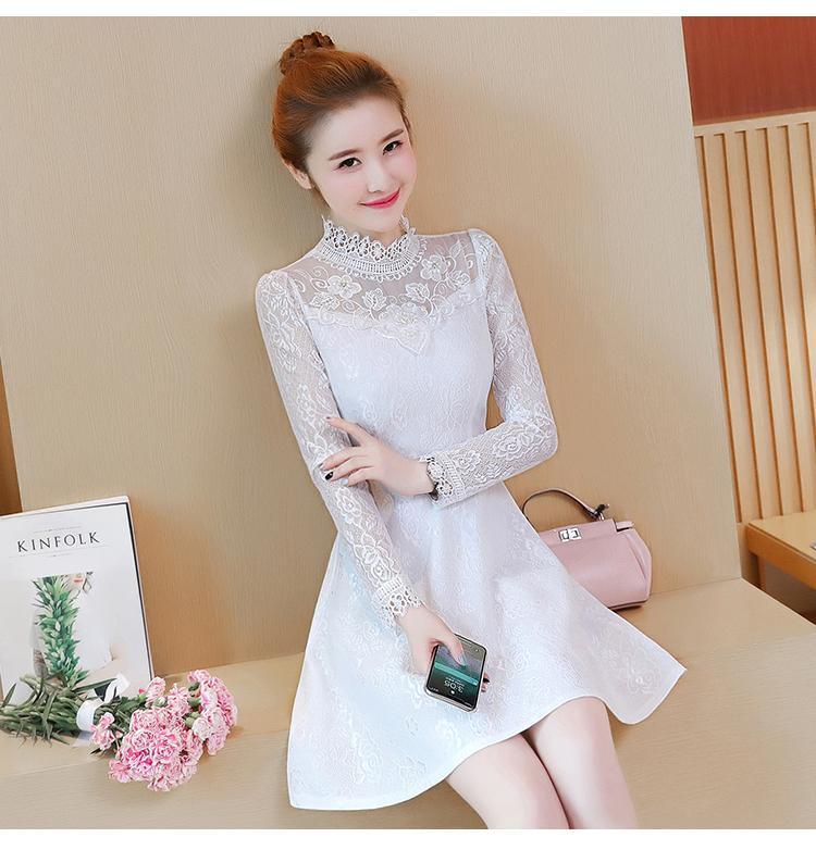 Gaun Korea Modis Gaya Musim Semi atau Musim Gugur Rok Elegan Ramping (Hitam)