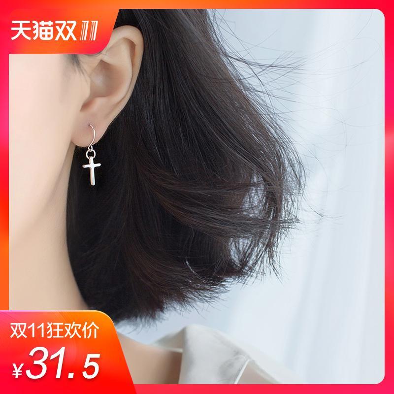 A'ROCH Perak 925 Salib anting-anting perempuan kepribadian minimalis Permukaan Halus Sastra manis