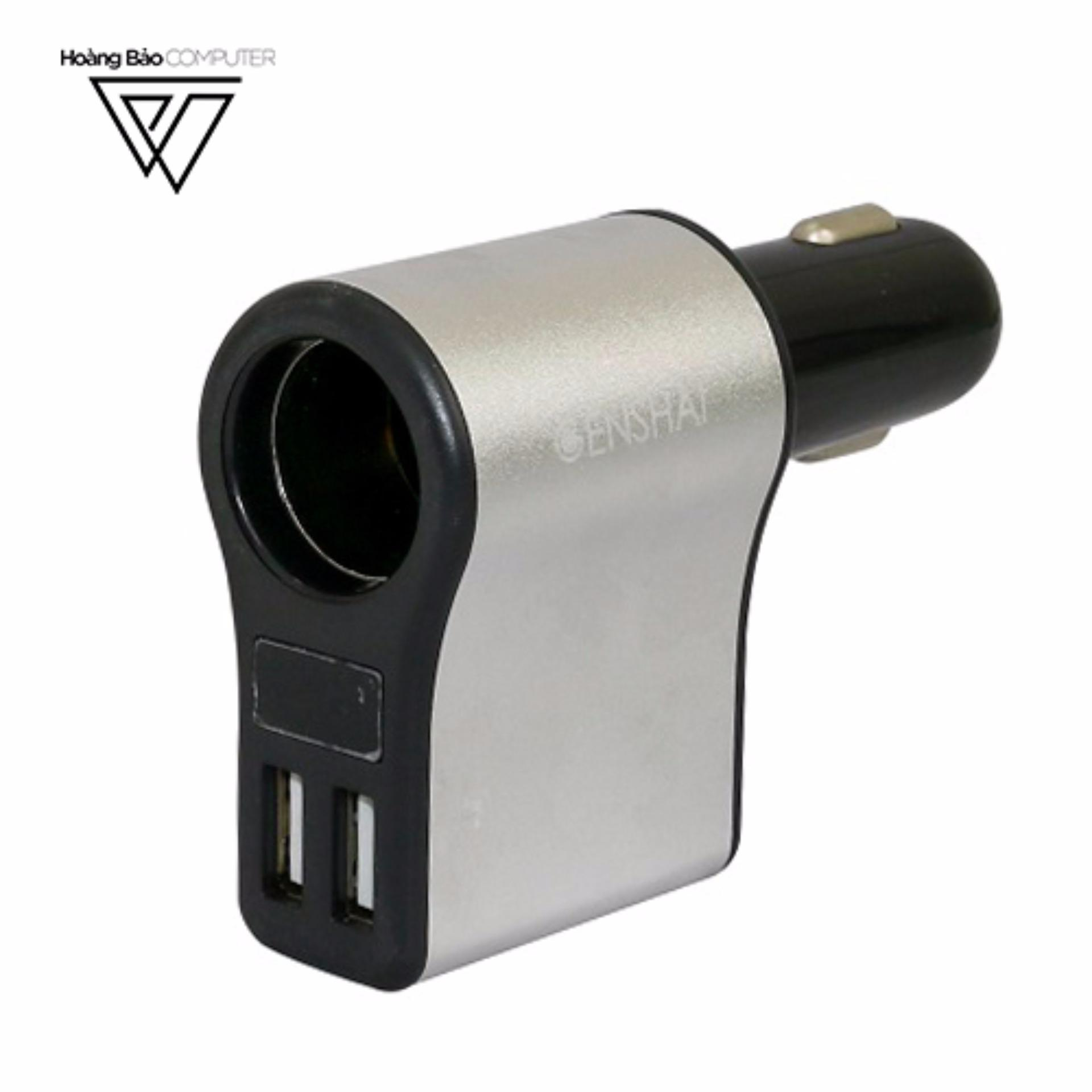 SẠC AC XE HƠI GENSHAI SMART GC02 2 CỔNG USB - Hãng phân phối chính thức