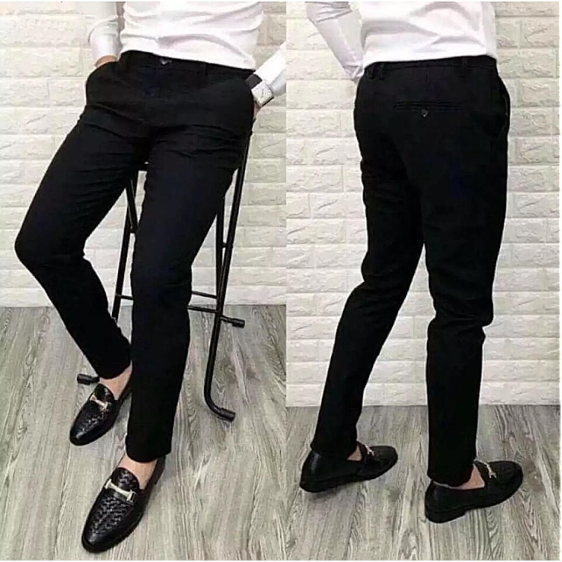 Hình ảnh Quần tây nam Hàn quốc co giãn màu đen,quần vải nam,quần âu công sở nam