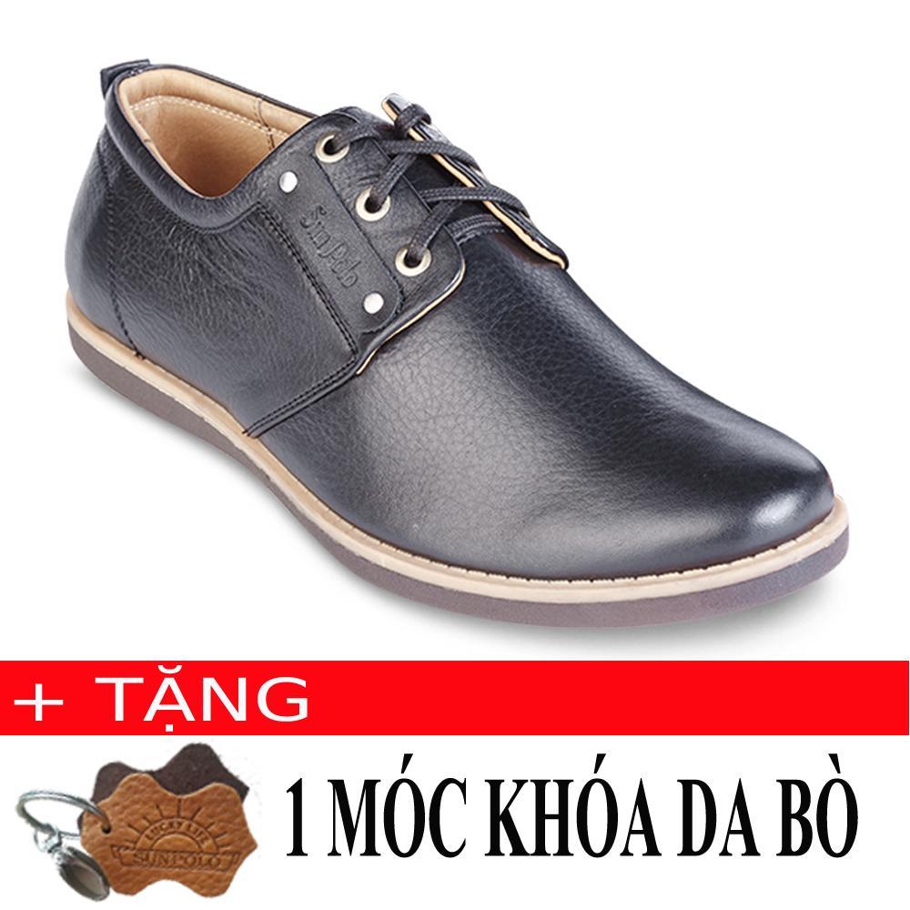 Giay Mọi Nam Da Bo Sunpolo Skt229D Đen Tặng Moc Khoa Da Bo Nguyên