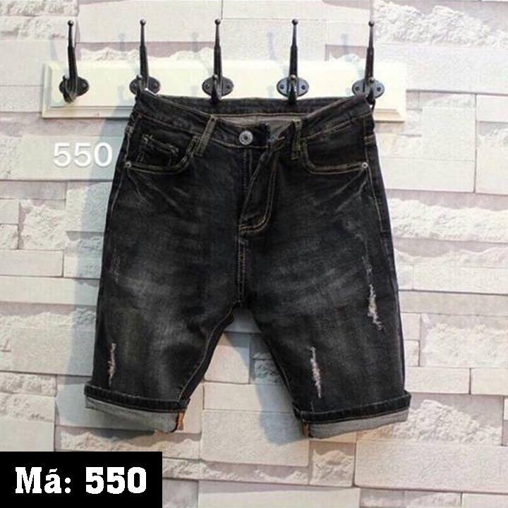 Giá Bán Quần Short Jeans Nam Rach Nhẹ Thời Trang K 550 Nau Đen Oem