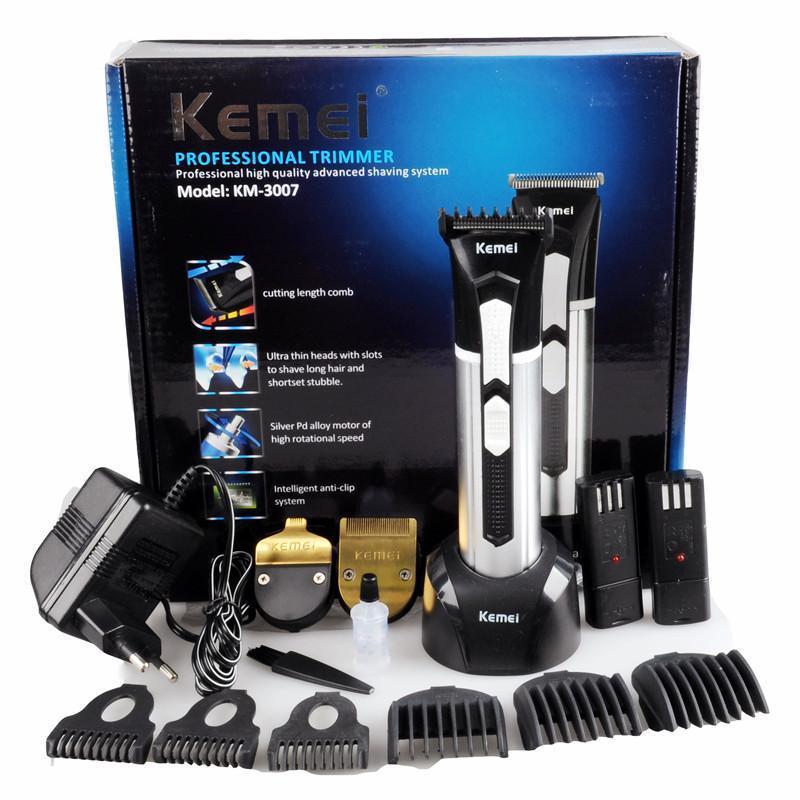 Tông đơ cắt tóc Đa Năng Kemei 3007 Tặng 2 lưỡi đồng 2 pin sạc, tiện dụng, an toàn nhập khẩu