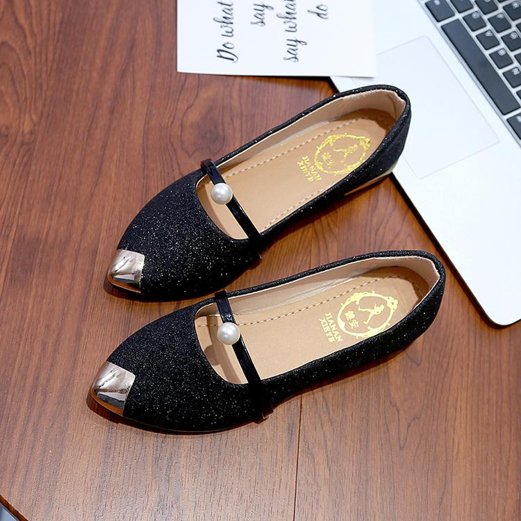 17d56ec492e Women s Korean-style Tip Toe Flat-bottom Shoes Black Silver Gold (