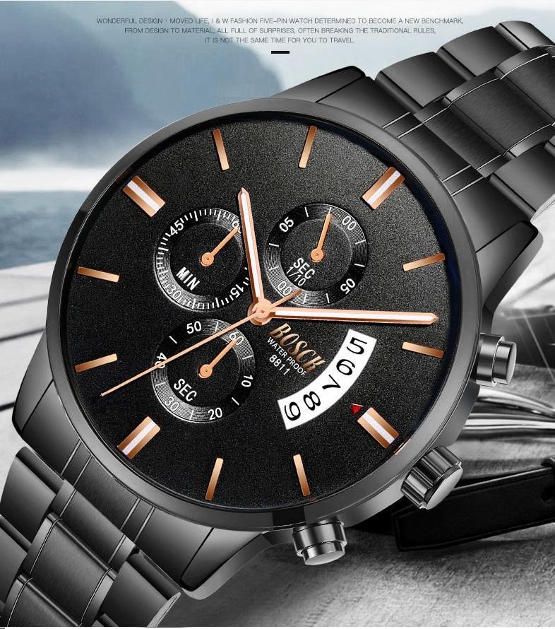 Đồng hồ nam thời trang lịch lãm Bosck có lịch ngày BOS02 (dây đen-mặt đen) bán chạy