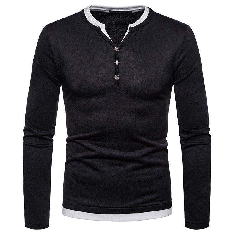 Outdoor Lizard Men Large Size Velvet Warm Solid Color Henley Shirt Long Sleeve Shirt Soft Cotton