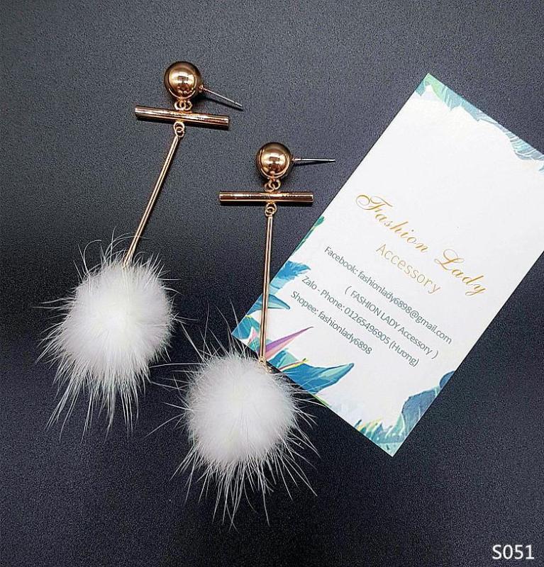 Bông tai bạc style Hàn Quốc thời trang dịu dàng dễ phối quyến rũ không gây dị ứng- hoa tai quả cầu bông trắng thời trang