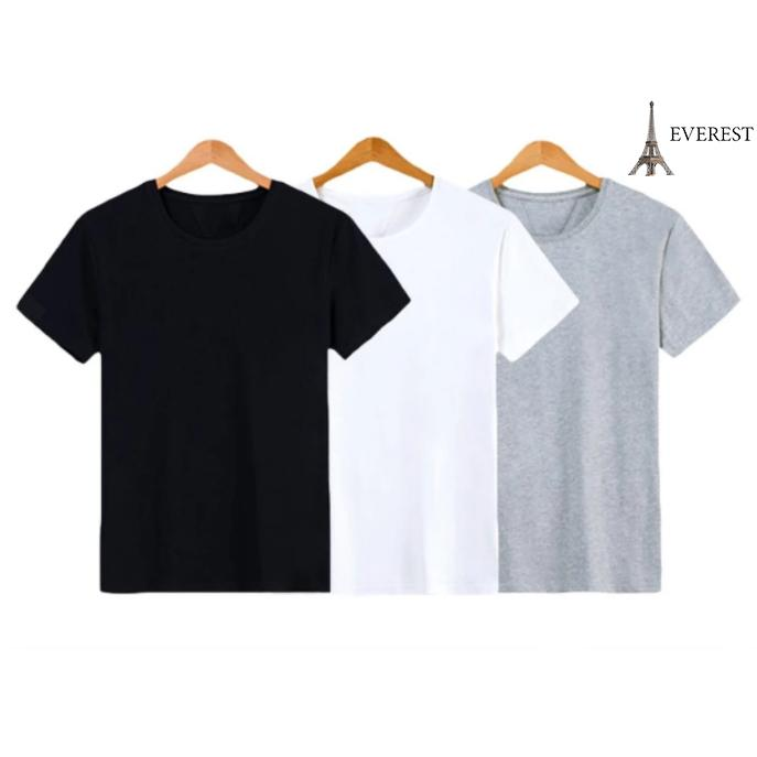 Hình ảnh Bộ 3 áo thun trơn nam form rộng phong cách hàng quốc vải dày mịn Everest (Trắng - Đen - Xám)