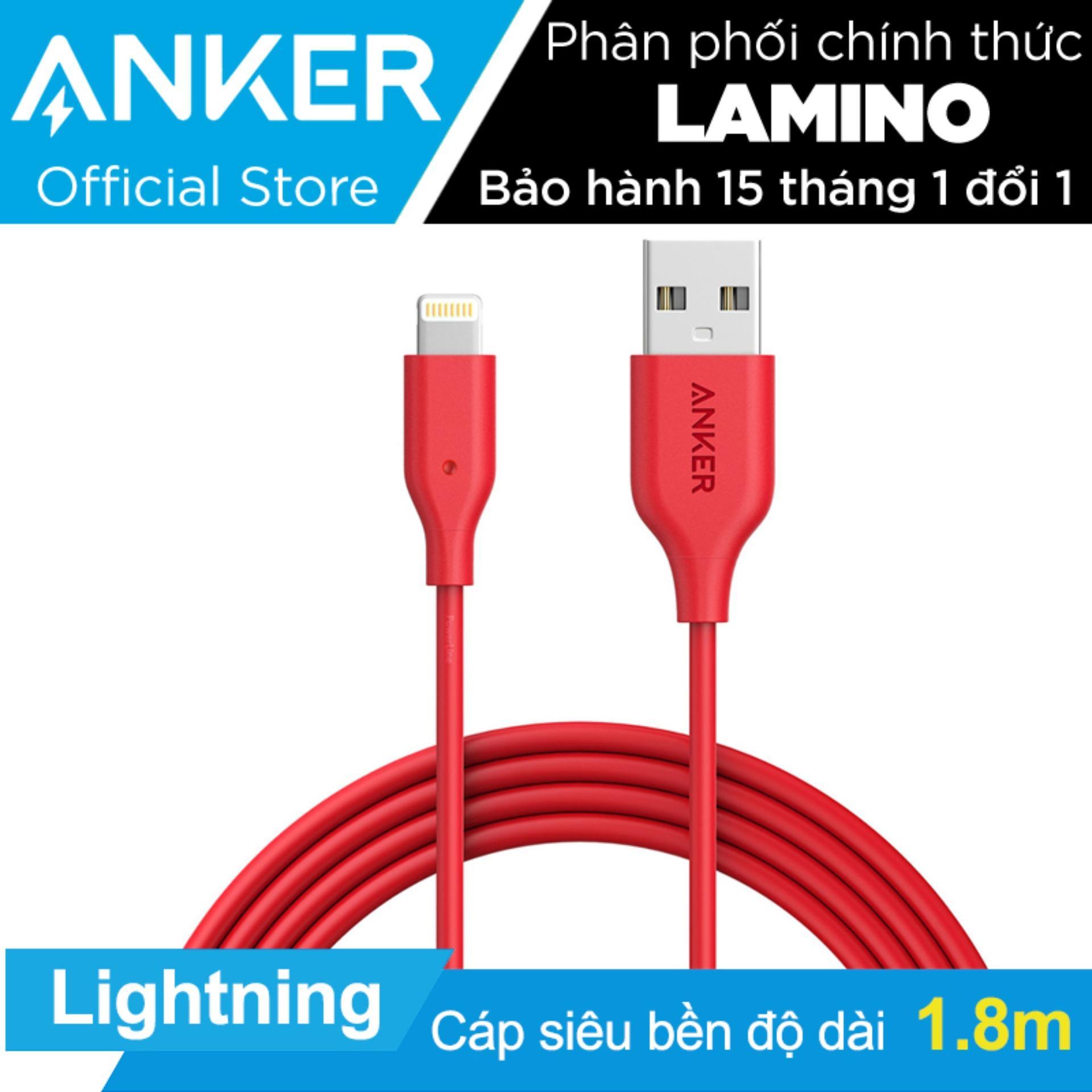 Bán Cap Sạc Sieu Bền Anker Powerline Lightning 1 8M Cho Iphone Ipad Ipod Đỏ Hang Phan Phối Chinh Thức Có Thương Hiệu