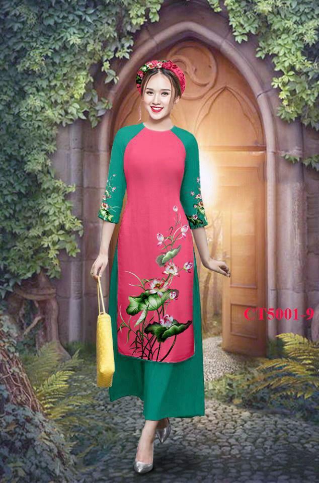 Hình ảnh [GIÁ HỦY DIỆT] [RẺ VÔ ĐỊCH] Set áo dài họa tiết hoa sen cao cấp - ML24