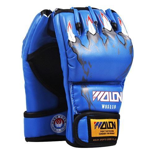 Hình ảnh Găng tay đấm boxing hở ngón MMA Wolon (xanh)
