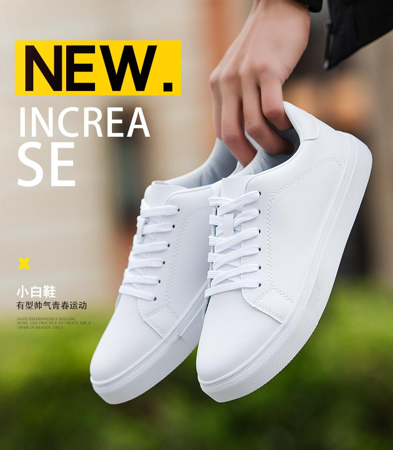 Hình ảnh Giày sneaker thể thao thời trang nam màu trắng tặng kèm tất thời trang