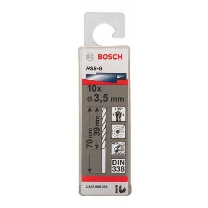 Mũi khoan sắt HSS-G 3.5mm (hộp 10 mũi), 2608595058, Bosch