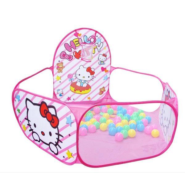 Hình ảnh nhà bóng kèm 100 bóng hình mèo hồng cho bé