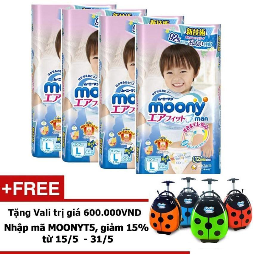 Bộ 4 Tã quần Moony L44 bé trai -Tặng Vali con bọ trị giá 600.000 VND