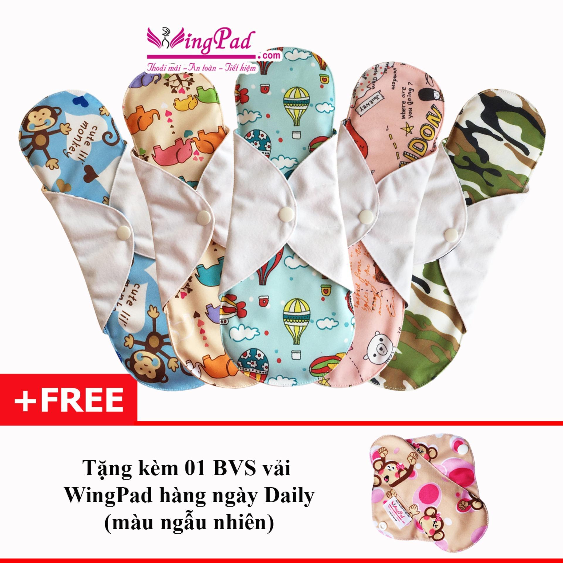 Combo 5 miếng băng vệ sinh vải WingPad ban Đêm 29cm (ngẫu nhiên) - Tặng 01 miếng hàng ngày Daily 17cm