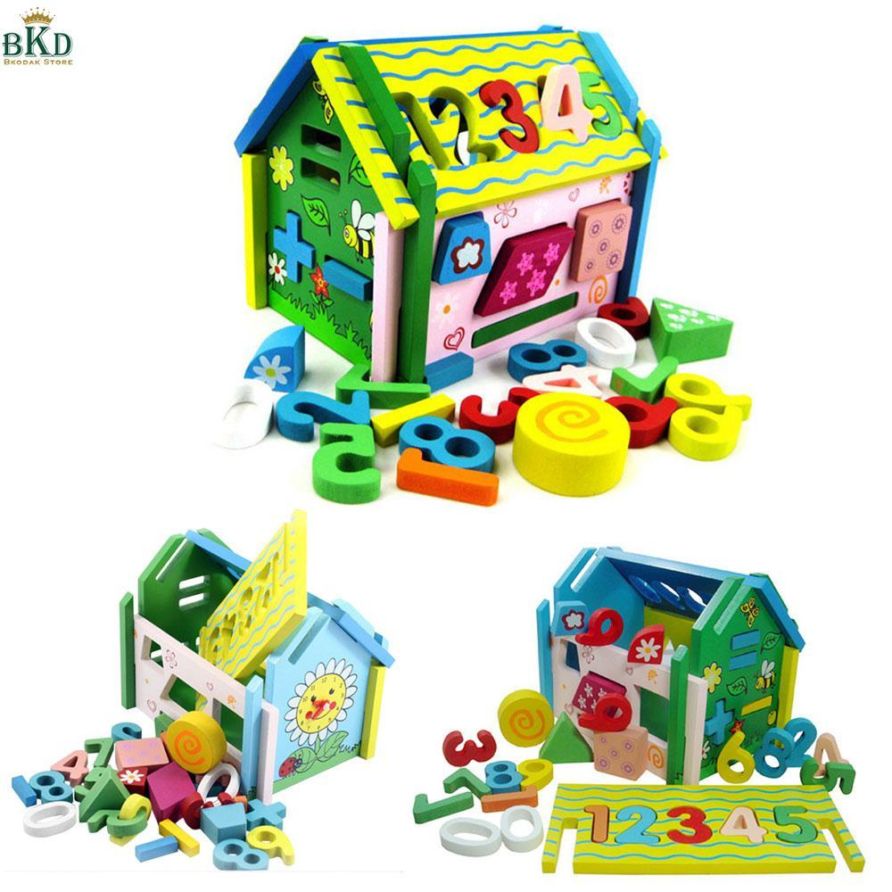 Hình ảnh Wooden 3D Puzzle Toy House Assembled Number Matching Kids Children Gifts
