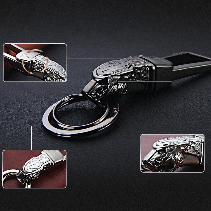 Móc treo chìa khoá đầu Báo cao cấp,sang trọng (đen)