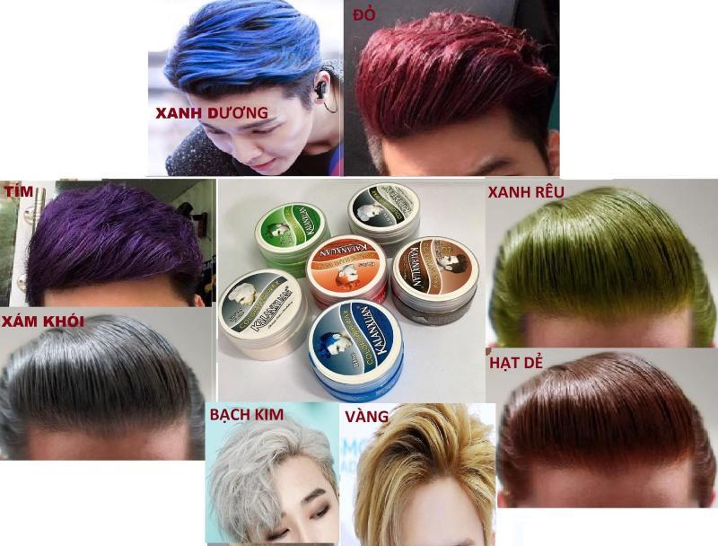 Sáp vuốt tóc tạo màu 8 màu hót nhất năm: xám khói, bạch kim, hạt dẻ, xanh dương, xanh rêu, màu đỏ, màu vàng, màu tím cao cấp