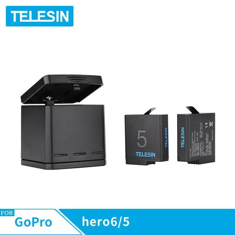 Combo sạc 3 + 2 viên pin TELESIN cho Gopro hero 5, Gopro hero 6, Gopro new hero 2018